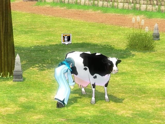 牛の乳搾り